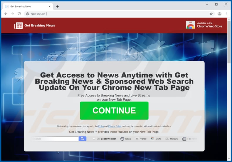 Website used to promote Get Breaking News browser hijacker