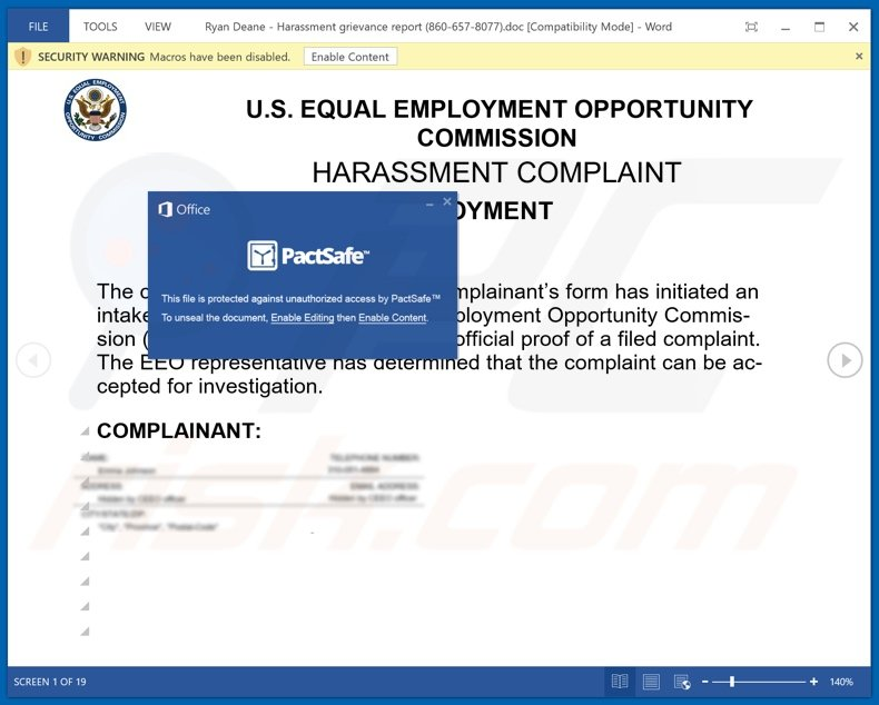 HARASSMENT COMPLAINT email scam