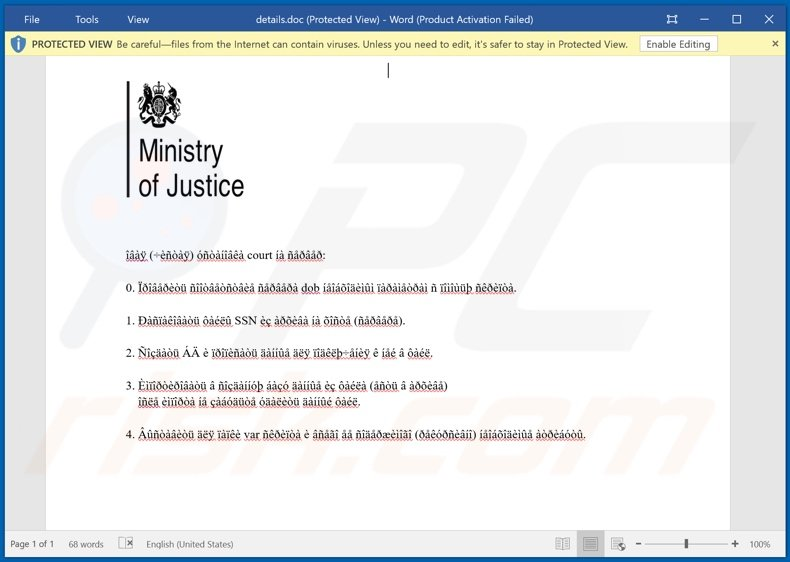 Malicious attachment distributed through Ministry of Justice Email Virus spam campaign