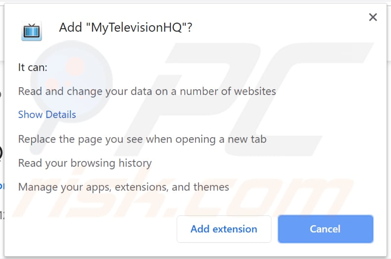 MyTelevisionHQ wants a permission to be installed on a browser