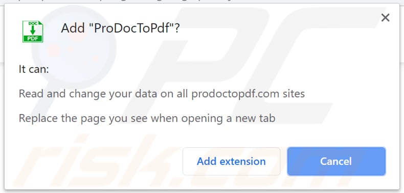 ProDocToPdf wants to be allowed to access various data