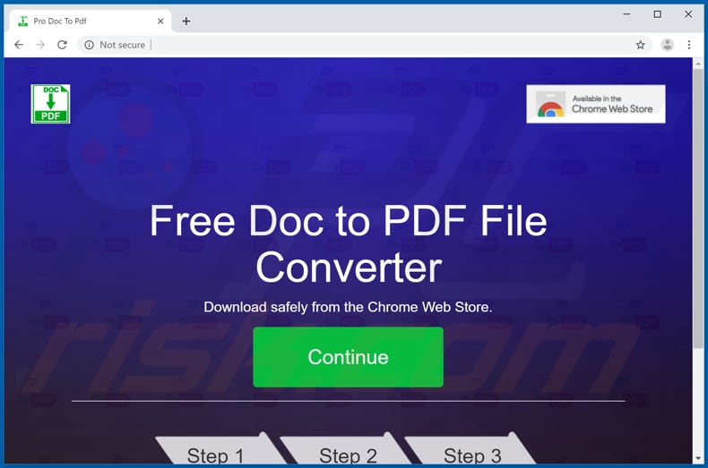 Website used to promote ProDocToPdf browser hijacker