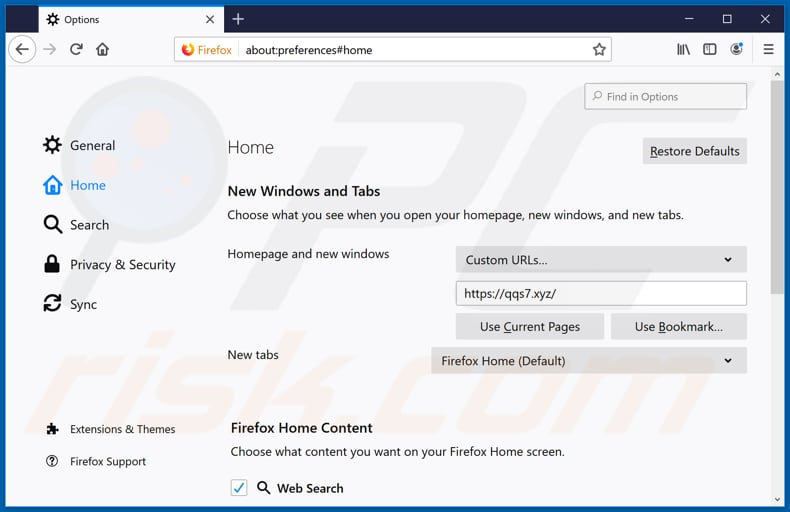 Removing qqs7.xyz from Mozilla Firefox homepage