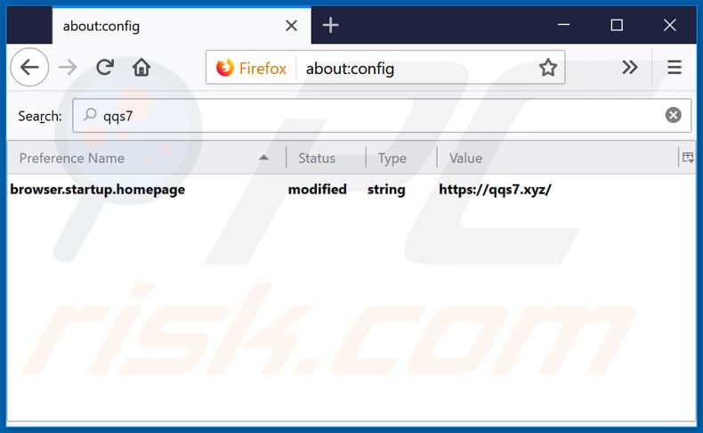 Removing qqs7.xyz from Mozilla Firefox default search engine