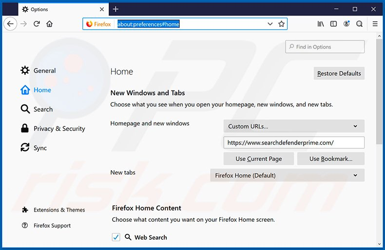 Removing searchdefenderprime.com from Mozilla Firefox homepage