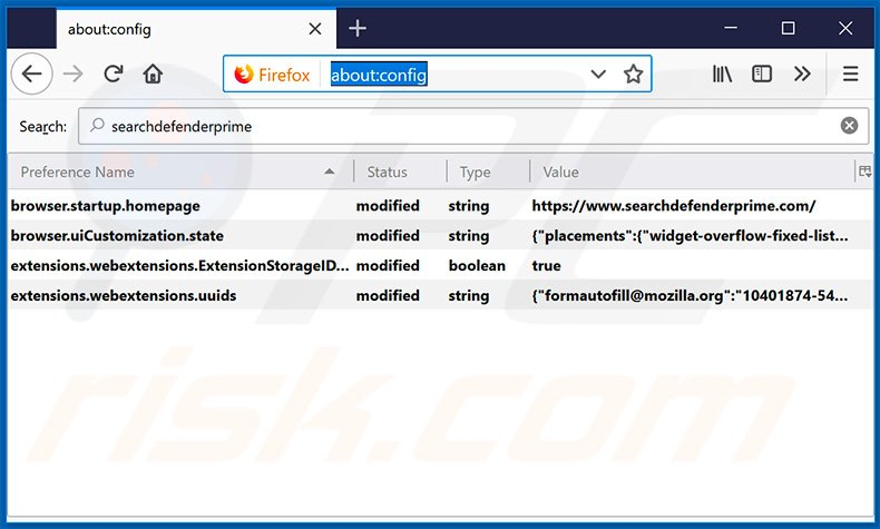Removing searchdefenderprime.com from Mozilla Firefox default search engine