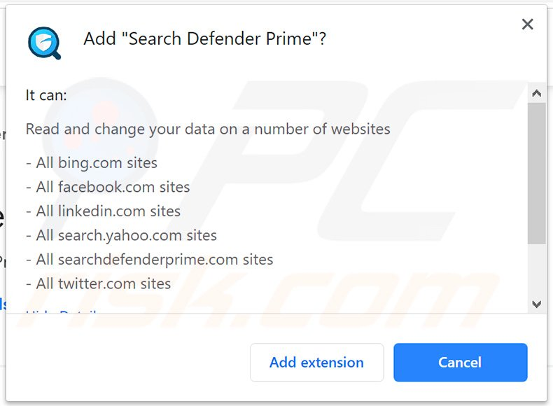 Official Search Defender Prime asking for Google Chrome permissions