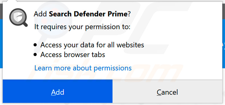 Official Search Defender Prime asking for Mozilla Firefox permissions