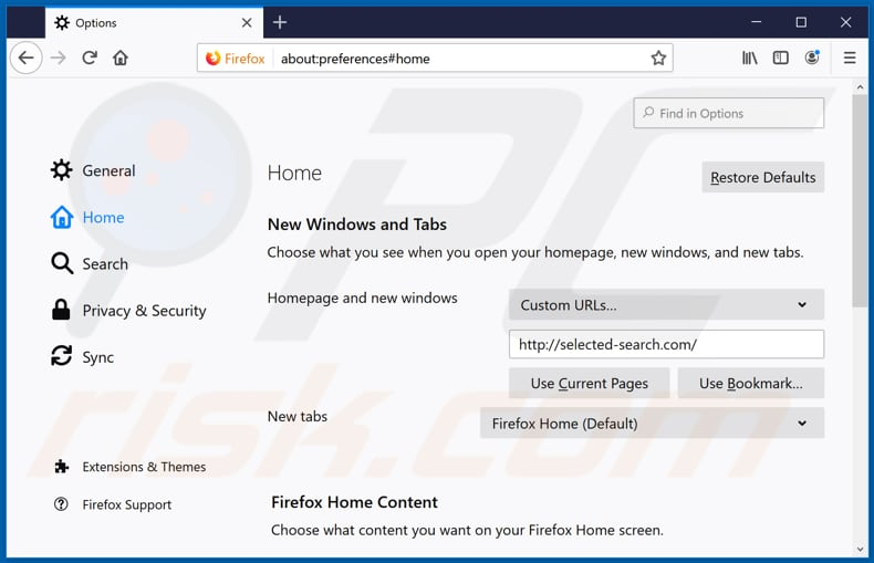 Removing selected-search.com from Mozilla Firefox homepage
