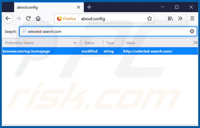 Removing selected-search.com from Mozilla Firefox default search engine