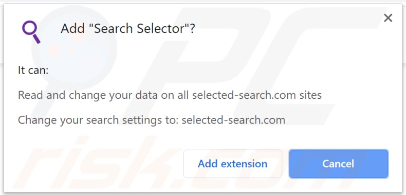 SearchSelector asks for a permission to be installed
