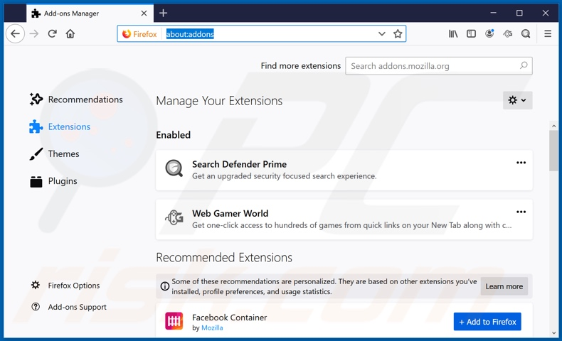 Removing webgamerworld.com related Mozilla Firefox extensions