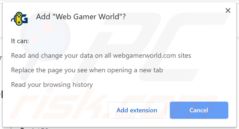 Web Gamer World asking for permissions (Chrome)