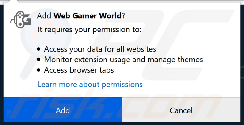 Web Gamer World asking for permissions (Firefox)