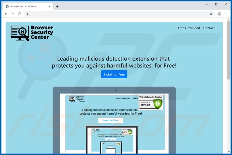 Website used to promote Website Security Checker browser hijacker