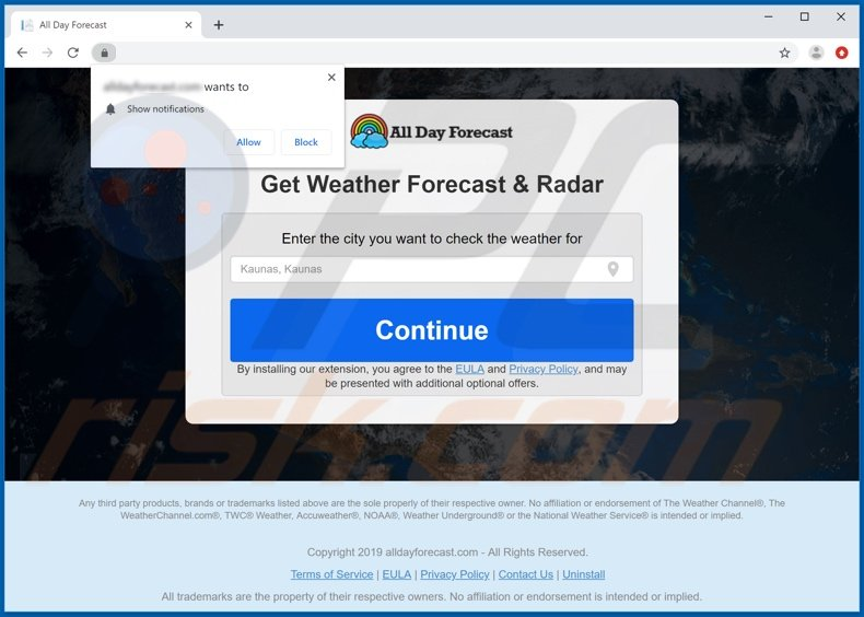 Website used to promote All Day Forecast browser hijacker