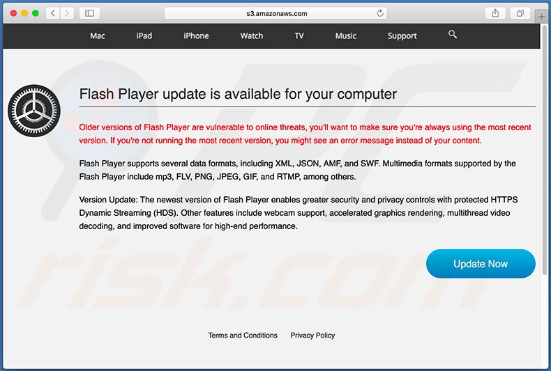 Fake Flash Player Update pop-up scam (sample 2)