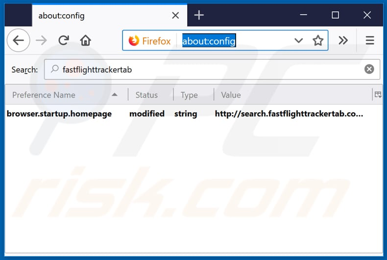 Removing search.fastflighttrackertab.com from Mozilla Firefox default search engine
