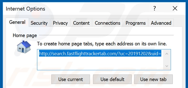 Removing search.fastflighttrackertab.com from Internet Explorer homepage