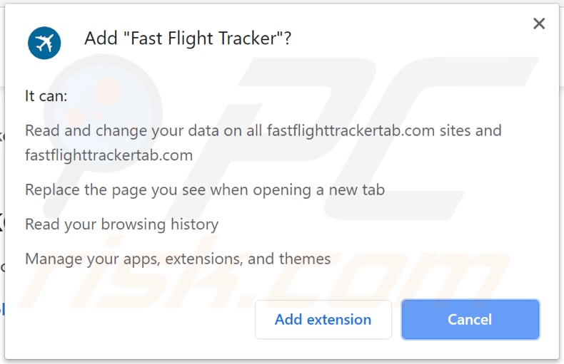 Fast Flight Tracker asks for a permission to read and change data