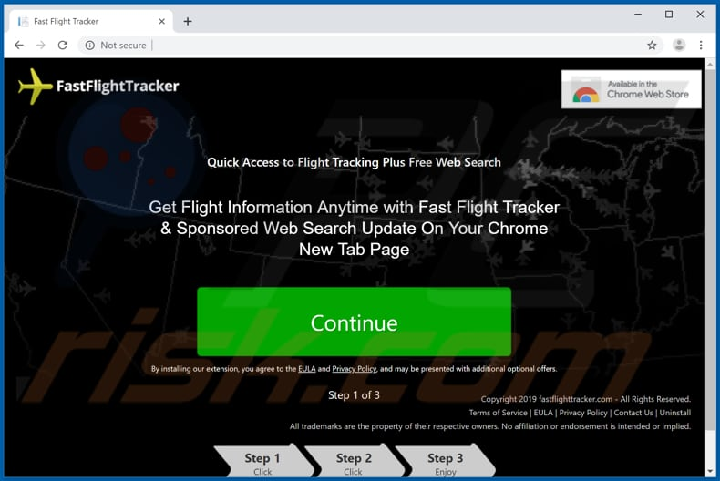 Website used to promote Fast Flight Tracker browser hijacker