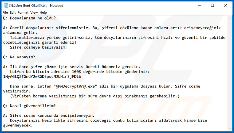 KesLan ransomware updated variant Turkish note