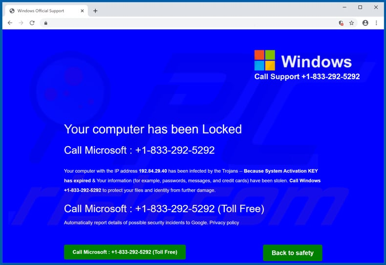 Microsoft Protected Your Computer scam background page