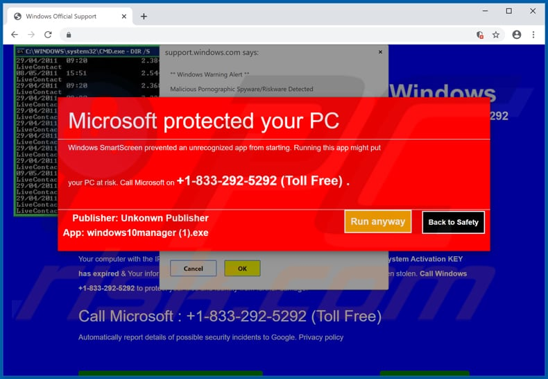 Microsoft Protected Your Computer scam