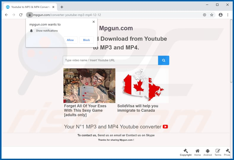 mpgun[.]com pop-up redirects
