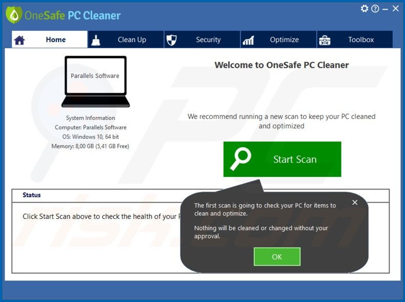 OneSafe PC Cleaner unwanted application