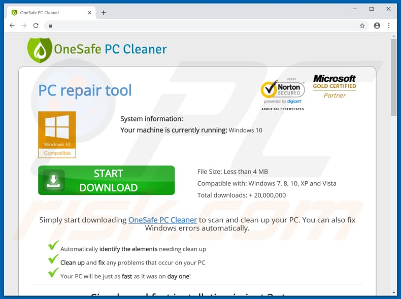 OneSafe PC Cleaner download page