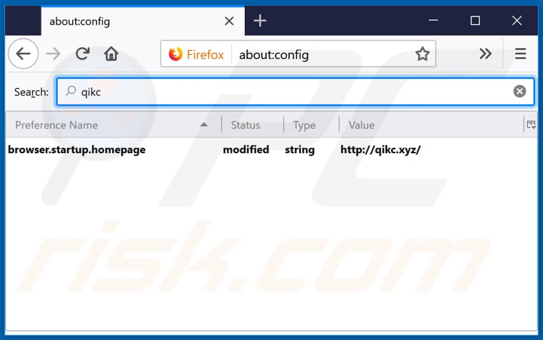 Removing qikc.xyz from Mozilla Firefox default search engine