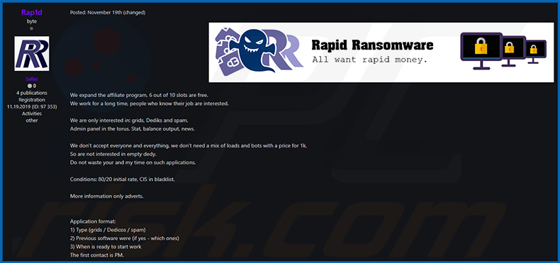 Rapid ransomware promoted as RaaS