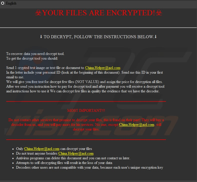 Rooster865qqZ decrypt instructions (HOW TO BACK YOUR FILES.exe)