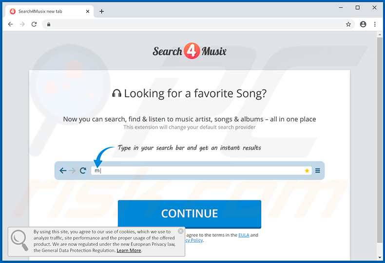 Search4Musix browser hijacker promoting website (sample 2)