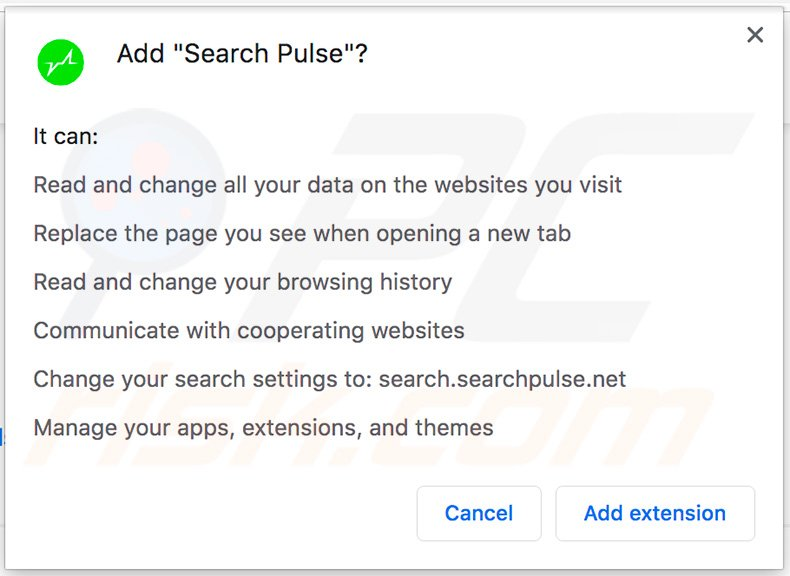 Search Pulse Google Chrome permissions