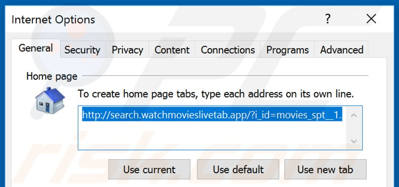 Removing search.watchmovieslivetab.com from Internet Explorer homepage
