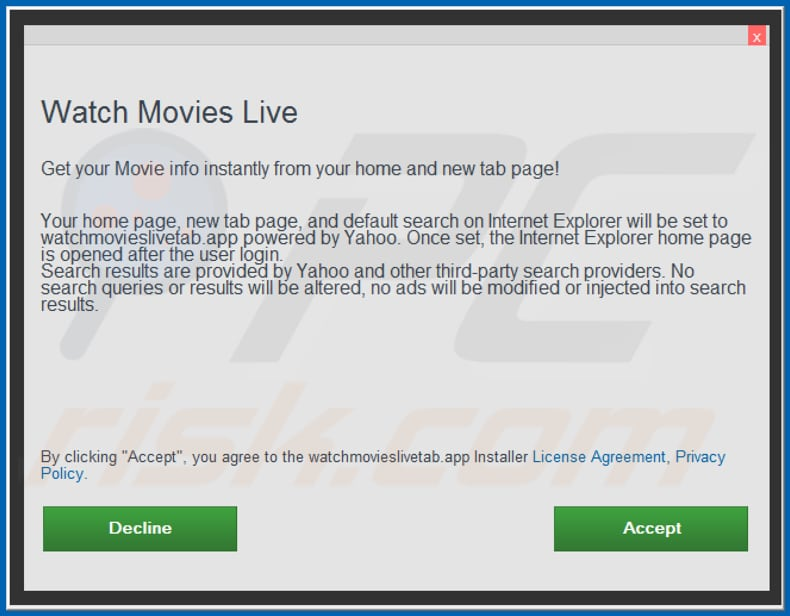 Official Watch Movies Live browser hijacker installation setup