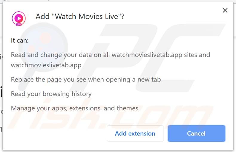 Watch Movies Live asks for a permission to read and change various data
