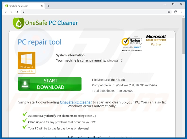 Website promoting OneSafe PC Cleaner unwanted app