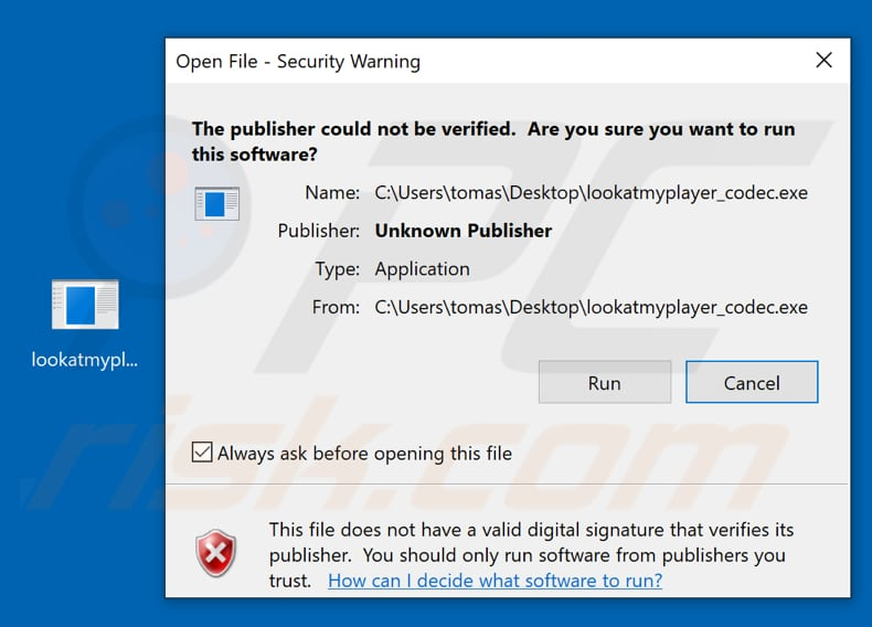 Windows warns about the lookatmyplayer_codec.exe file