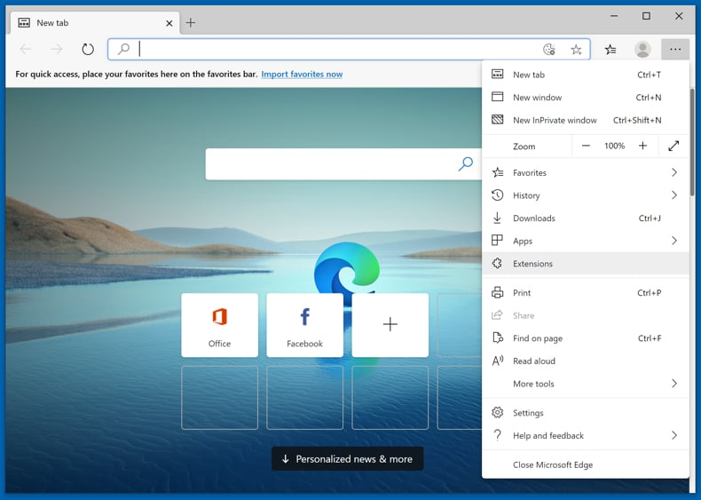 Removing adware from Microsoft Edge step 1