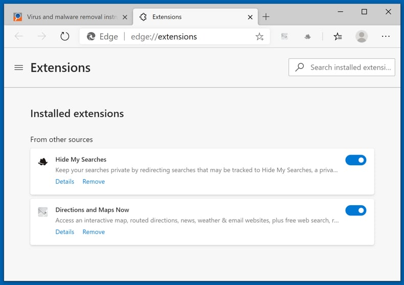 Removing browser hijackers from Microsoft Edge step 1