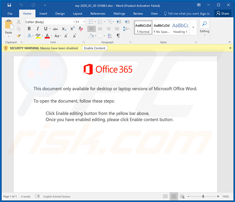 Word document used to spread Emotet trojan