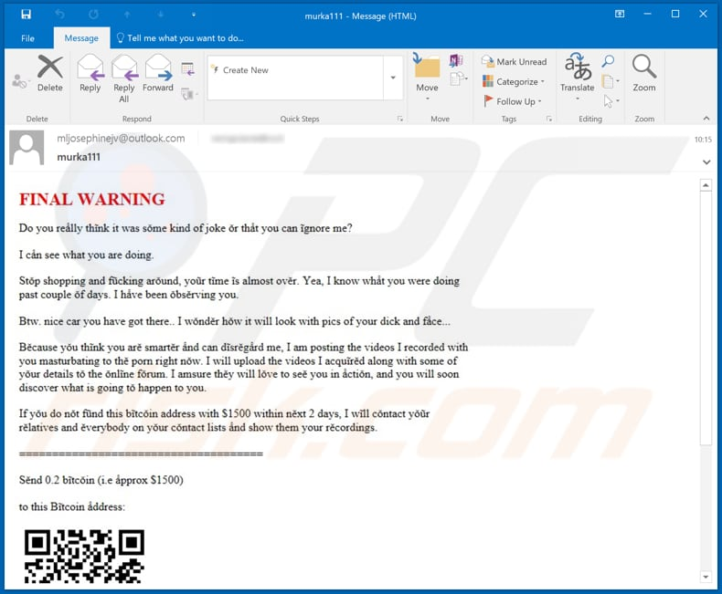 Final Warning spam campaign