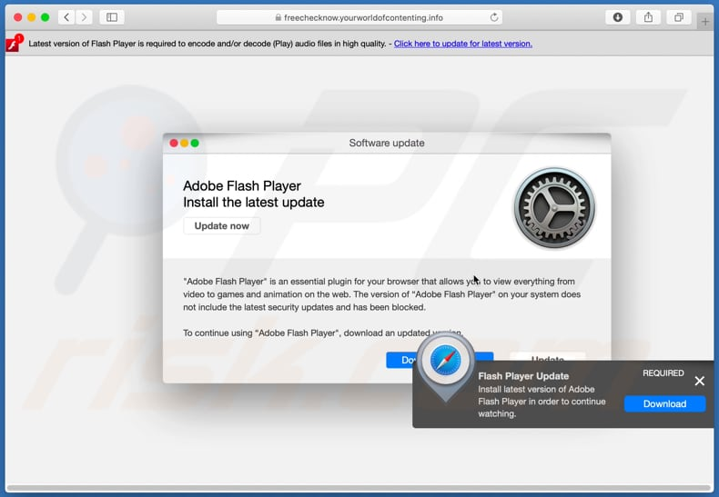 latest version of adobe flash player scam second pop-up