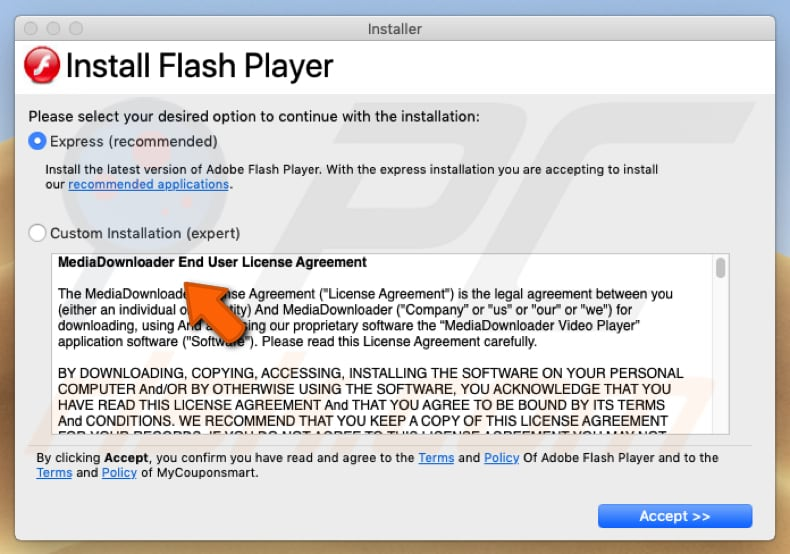 fake Adobe Flash Player downloaded from managervanilla.pw