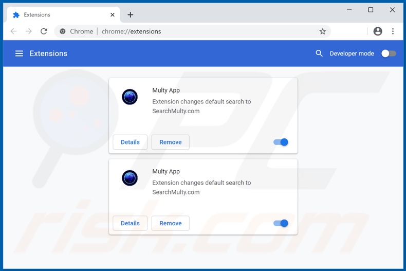 Removing searchmulty.com related Google Chrome extensions