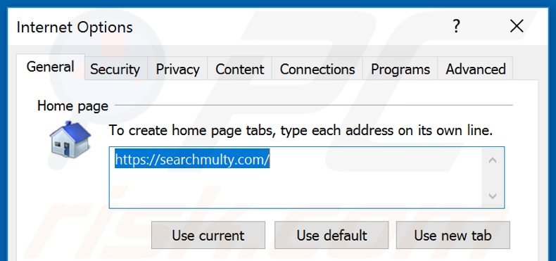 Removing searchmulty.com from Internet Explorer homepage