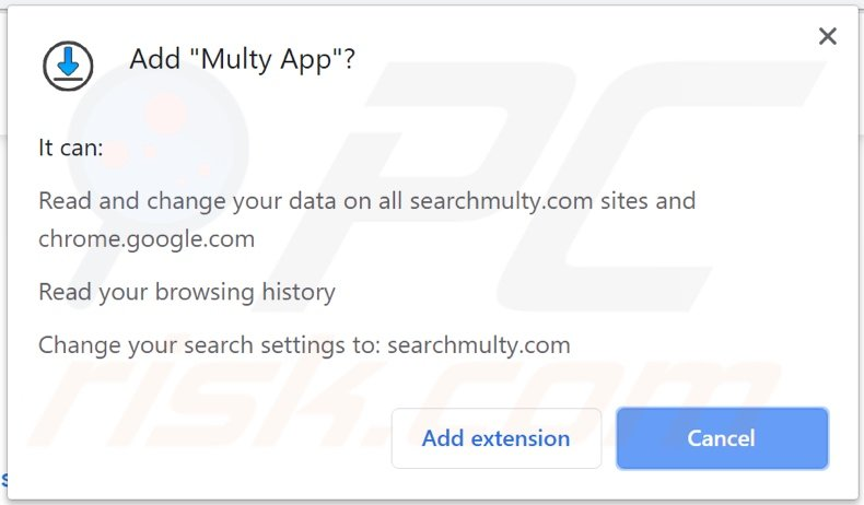 Multy App browser hijacker asking for permissions